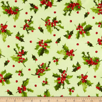 Maywood Studio Poinsettia & Pine Holly And Berries Light Green