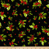 Maywood Studio Poinsettia & Pine Holly And Berries Black