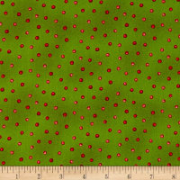 Maywood Studio Poinsettia & Pine Holly Berry Dots Green