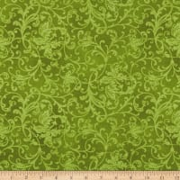 Maywood Studio Poinsettia & Pine Elegant Scrolls Green