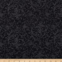 Maywood Studio Poinsettia & Pine Elegant Scrolls Black