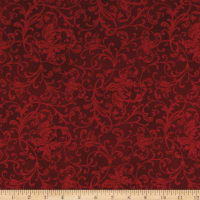 Maywood Studio Poinsettia & Pine Elegant Scrolls Dark Red