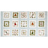 "Maywood Studio Christmas Joys Flannel Christmas Joys 6"" Squares 25"" Panel Blue"