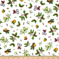 Maywood Studio Christmas Joys Flannel Holly & Mistletoe Natural