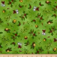 Maywood Studio Christmas Joys Flannel Holly & Mistletoe Green
