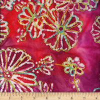 Indian Batik Embroidery Floral Fuchsia