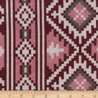 Global Textures Jacquard Cotton Blend Aztec Wine/Blk/Grey