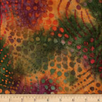 Hudson Bay Challis Floral Orange/Purple/Red Batik
