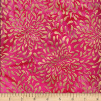 Indian Batik Tear Drop Gold Print Batik Pink
