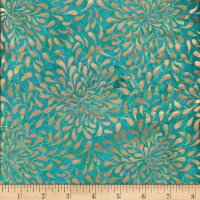 Indian Batik Tear Drop Gold Print Batik Teal