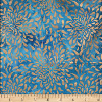 Indian Batik Tear Drop Gold Print Batik Light Blue