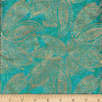 Indian Batik Leaves Gold Print Batik Teal
