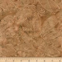 Indian Batik Leaves Gold Print Batik Natural