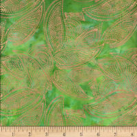 Indian Batik Leaves Gold Print Batik Green