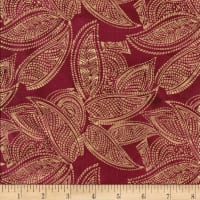 Indian Batik Leaves Gold Print Batik Wine