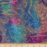 Indian Batik Swirl Gold Print Batik Fuchsia/Purple/Teal