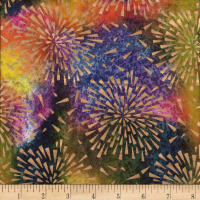 Indian Batik Starburst Gold Print Batik Purple/ Blue/ Olive