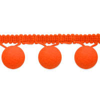"1 1/2"" Bonita Pom Pom Fringe Trim Neon Orange"