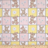 Flannel Fluffy Bunny Bunny Squares Pink