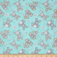 Flannel Fluffy Bunny Tossed Bunnies Blue