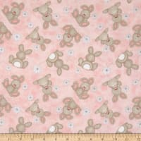 Flannel Fluffy Bunny Tossed Bunnies Pink