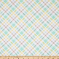 Flannel Fluffy Bunny Plaid Blue