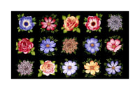 "Botanical Blooms 24"" Flower Blocks Panel Black"