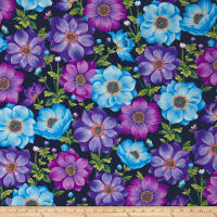 Botanical Blooms Anemones Navy