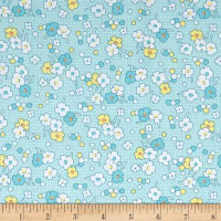 Nana Mae II 1930's Reproduction Floral Dot Aqua