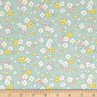 Nana Mae II 1930's Reproduction Floral Dot Green