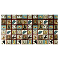 "Rodeo Round Up Cowboy Motif Squares 24""Panel Multi"