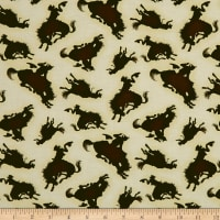 Rodeo Round Up Bucking Horse Silhouette Cream