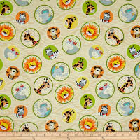 Bungle Jungle Animal Faces In Circles Cream