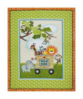 "Bungle Jungle 36"" Animals In Wagon Panel Green"