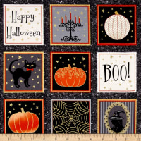Midnight Spell Halloween Blocks Metallic Black