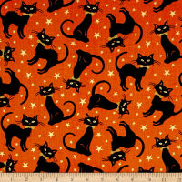 Midnight Spell Tossed Cats Metallic Orange