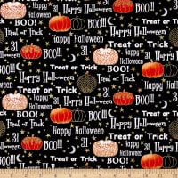 Midnight Spell Halloween Words Metallic Black