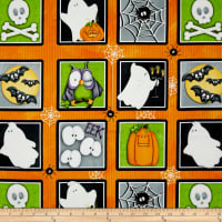 "Chills & Thrills Halloween Motif Squares Glow In The Dark 24.5"" Panel Multi"
