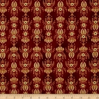 Kim Diehl Farmstead Flocked Wallpaper Ruby