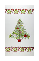 "Ring In The Holly Days Christmas Tree 24"" Panel Cream"