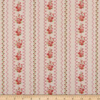 Gentle Garden Flannel Needlepoint Floral Stripe Blush