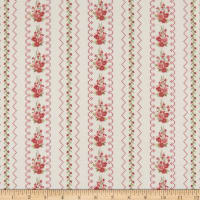 Gentle Garden Flannel Needlepoint Floral Stripe Cream