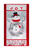 "Flannel Frosty Friends 24"" Snowman Panel Red/Gray"