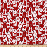 Flannel Frosty Friends Holiday Gift Tags Allover Red