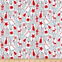 Flannel Frosty Friends Holiday Gift Tags Allover Gray