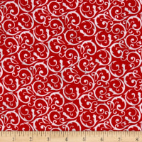 Flannel Frosty Friends Wintery Scroll Red