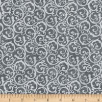 Flannel Frosty Friends Wintery Scroll Gray