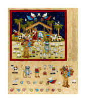 "Away In A Manger 36"" Advent Calendar Panel Cream"