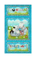 "Splish Splash 24"" Bathing Sheep Panel Blue"