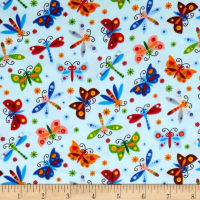 Comfy Flannel Prints Butterflies And Dragonflies Ligth Blue